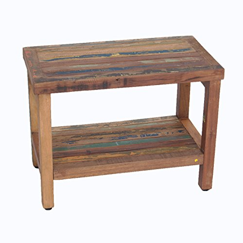 Recycled Boat Wood And Solid Teak Indoor Outdoor Bench For Sale