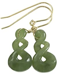 14k Gold Filled Nephrite Jade Earrings Green Carved Triple Infinity Teardrop Dangle