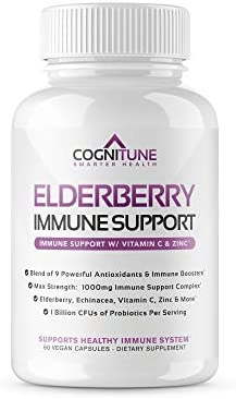 CogniTune Elderberry Immune Support Supplement with Vitamin C, Zinc, Antioxidants, Probiotics – 1000mg Immune Booster for Adults, 60 Veggie Capsules