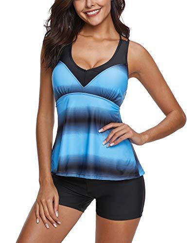 Bonvince Women's Tankini with Boyshorts Strappy Criss Cross Two Piece Swimwear Swimsuit Set XL Blue