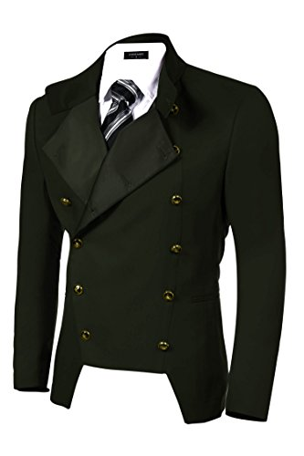 COOFANDY Men's Casual Double-Breasted Jacket Slim Fit Blazer (X-Large, Green)