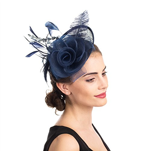 SAFERIN Fascinators Hat Flower Mesh Feathers on a Headband and a Clip Tea Party Headwear for Girls and Women (TA4-sinamay Feather Navy)
