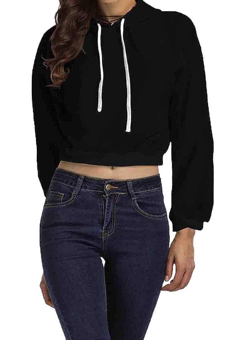 XQS Womens Casual Fit Long Sleeve Drawstring Hoodies Sweatshirts