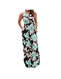 Mapletop Women Long Maxi Dress Floral Print Boho Party Dress