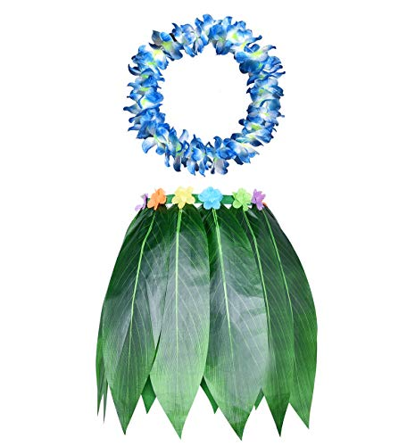 (KEFAN Leaf Hula Skirt and Hawaiian Leis Set Grass Skirt with Artificial Hibiscus Flowers for Hula Costume and Beach Party (Men))