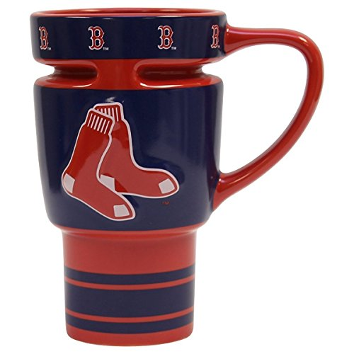 MLB Officially Licensed Boston Red Sox 16 Oz Sculpted Ceramic Travel Team Fan Mug with Lid