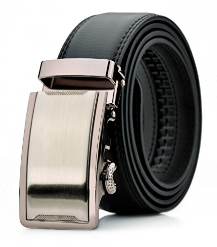 Squeple Leather Belt For Men Automatic Buckle Leather Belts Black Gift Box Package LY87605-2-110 30-33in.