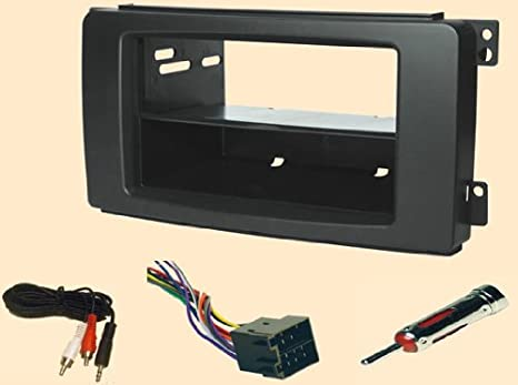 smart fortwo, for to, two, for2 2008 2009 2010 double or single din radio  installs** stereo wiring harness, dash install kit faceplate, with fm  antenna