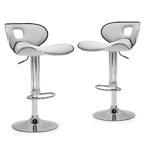 Glamour White Faux Leather - Glamour Home Décor Adria White/Black/Grey Chrome Frame Adjustable Height Swivel Bar Stools with Faux Leather Seating (Set of 2) White