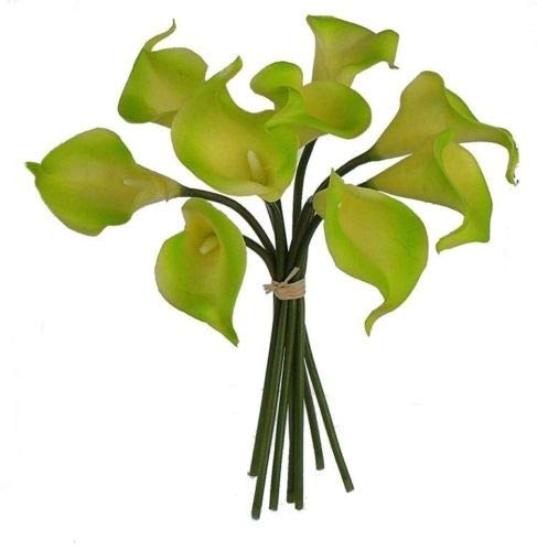 Green Calla Lily Bouquet Real Touch Hand Tied Silk Wedding Flowers Centerpieces