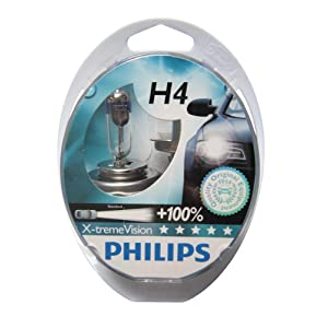 Philips H4 X-treme Vision Car Headlight Bulbs. 12v 55w.