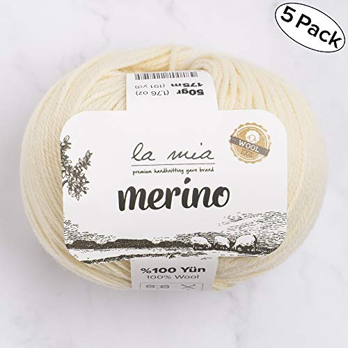 5 Ball La Mia%100 Merino Wool Total 8.8 oz. Each 1.76 oz (50g) / 191 Yrds (175m), Fine, Sport, Premium Softest Natural Yarn, Cream - L075