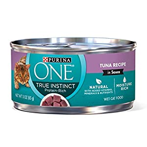 Purina ONE Natural, High Protein Wet Cat Food; True Instinct Tuna Recipe in Sauce - 3 oz. Pull-Top Can  (pack of 24) 119