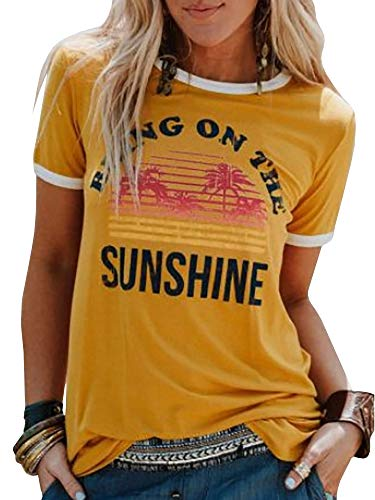 (Chuanqi Women Bring On The Sunshine Printed T-Shirt Causal Loose Christian Graphic Tees Short Sleeve Summer Blouses Tops Yellow)