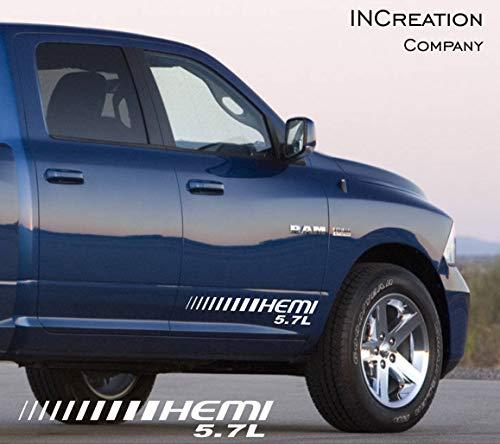 (INCreation Company 2002-2019 Dodge Ram 1500 Front Doors Decals, Mopar Vinyl Stickers RT, 5.7 L auto Graphics SRT Hellcat, Hemi, Rebel 4x4)