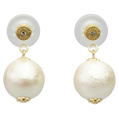 Infinity Pearl Earring Jacket Set (12mm) Powered By Chrysmela Hypoallergenic Earring Back Champagne/24k Yellow Gold Back