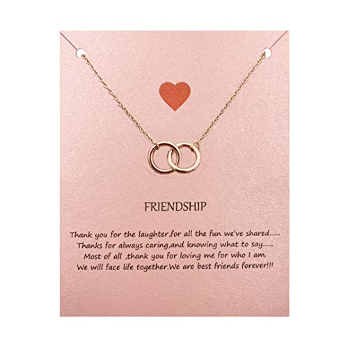 Your Always Charm Double Circle Knot Necklace,Two Interlocking Infinity Circles Gift for Best Friend (Rose -