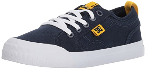 DC Youth Evan TX Skate Shoe (Little Big Kid), Navy/Yellow, 13.5M M US
