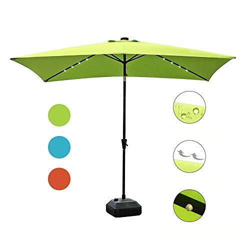COBANA 9.8' by 6.6' 22 Solar Powered LED Lighted Outdoor Table Umbrella Aluminum Patio Umbrella,Lime Green