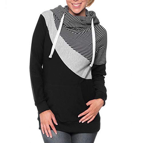 Halloween Maternity Shirts for Women Women Hooded Striped Patchwork Maternity Pregnancy Lady Hoodie Sweatshirt Top Gray XL ()