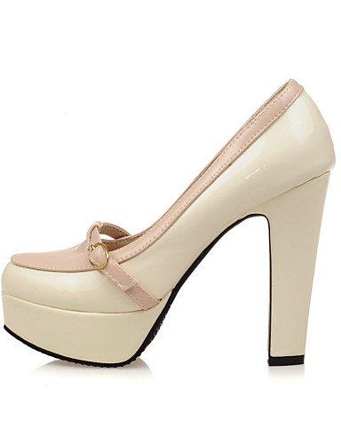 White Beige À amp; chaussures us6 Travail Bout Chaussures bureau Ggx talons Décontracté Talons Habillé Femme Uk4 Cn36 Arrondi gros Eu36 Plateau A Talon blanc wqx8HnTF