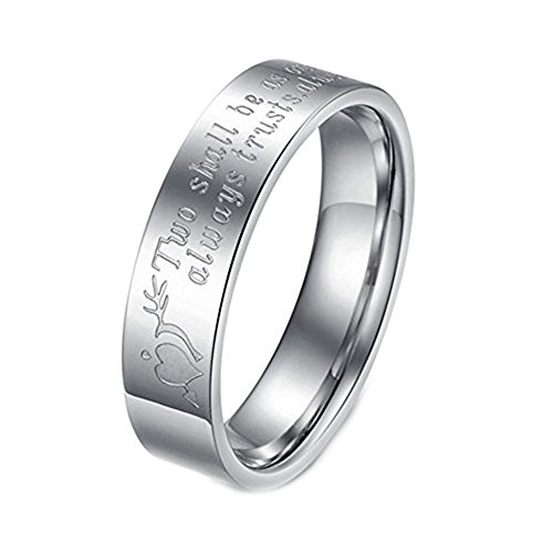 Geminis Fashion Jewelry 'Two Shall Be As One. Always Protects. Always Trust. Always Love' Stainless Steel Promise Couple Ring----Men's Ring;Size 10