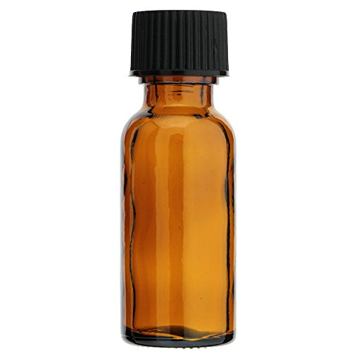 AURA VARIETY 72 Pieces Boston Round 1/2 OZ 15 ML Amber Glass Bottles with Poly Cone Lined Black CAPS