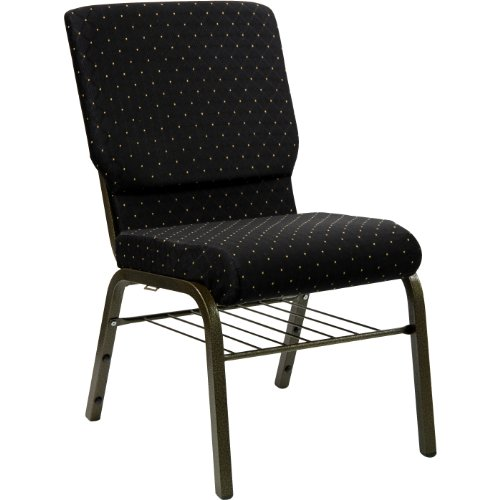 "18.5""W Church Chair in Black Dot Patterned Fabric with Book Rack – Gold Vein Frame"