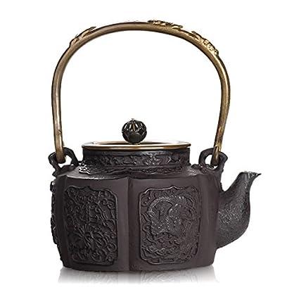 Reparto del japonés del hierro Ollas Phoenix Modelo hecho a mano de la cubierta de cobre