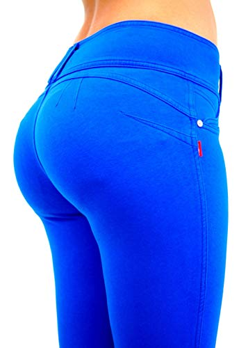 Premium Stretch Cotton Butt lifting, Levanta Cola, Skinny Leg French Terry Fashion Moleton in Royal Blue Size ()