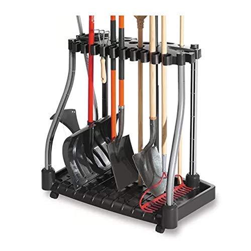 (J&M Tool Tower w/Castors Garden Tools Organizer Store Rakes Shovels Brooms Black)
