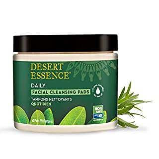 Desert Essence Natural Tea Tree Oil Facial Cleansing Pads - 50 Count - Face Cleanser - Soothes & Calms Skin - Makeup Remover Pads - Removes Oil & Dirt - Great for Travel - Essential Oils