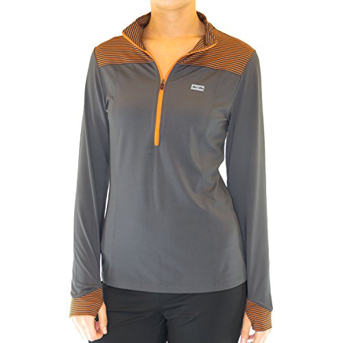 Alex+Abby Plus-Size Triumph 1/4 Zip Pullover XXX-Large Steel Grey w/Rhythm Orange