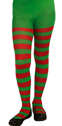 [Green Red Child Striped Tights Hosiery Girl's Pantyhose Socks Elf Xmas Accessory] (Elf Maiden Costume)