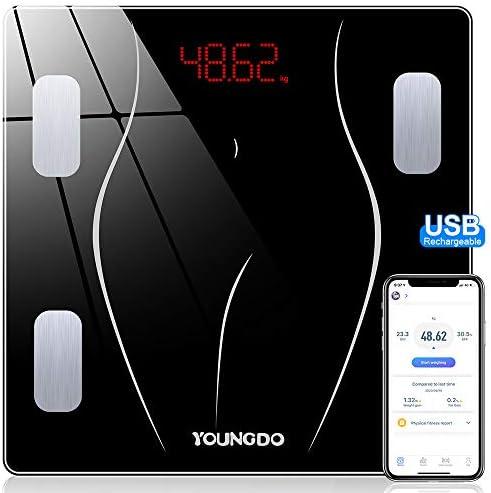 YOUNGDO Báscula Grasa Corporal y Muscular - 30 * 30cm, 23 Medidas Corporales con App,USB Recargable, Báscula de Baño, Balanza Bluetooth Digital, ...