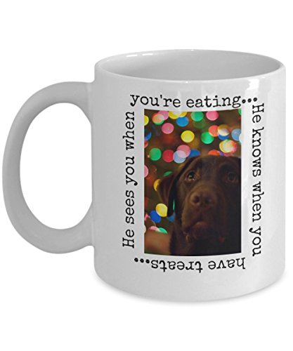 [Funny Labrador Retriever gift -- He sees you when you're eating, he knows when you have treats - 11 oz. ceramic coffee mug perfect for any dog owner and lover] (Witty Costumes 2017)