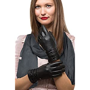 Fashion Sheepskin Leather Gloves For Women, Cold Weather TouchScreen,Lined