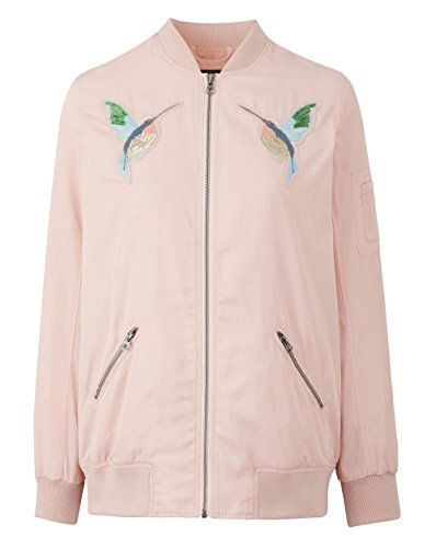 Jacket Womens Peach Embroidered Be Soft Simply Bomber 1T6FwaqnI