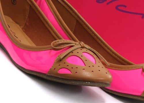 Dolcis Fuchsia/Tan Bow Detail Ballet Pumps Womens Slip On Shoe ca6EWC5