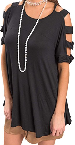 SWORLD Women's Black Sexy Round Neck Cold Shoulder Tee Ripped Blouse Flowy (Elbow Sleeve Tissue)