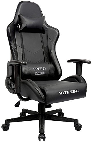Gaming Office Chair Ergonomic Desk Chair High Back Racing Style Computer Chair Swivel Executive Leather Chair With Lumbar Support And Headrest(Carbon fiber Black) by Waleaf