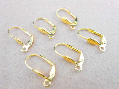 50PCS Making Jewelry Findings Gold Shell Square LeverBack Earrings Clasp Hooks CaandShop TM