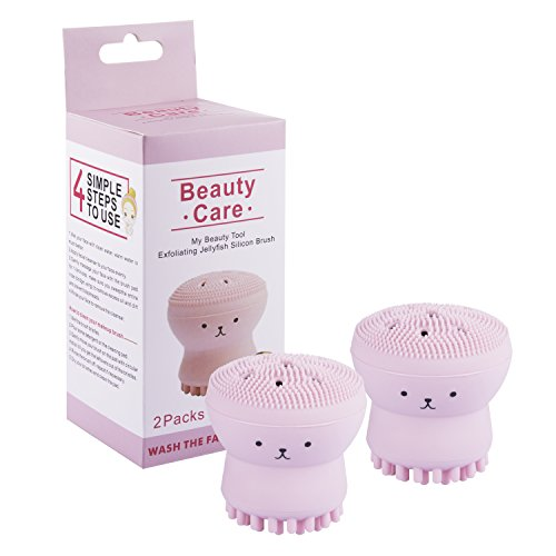 Beauty Care Cleaner Facial Brush, Jellyfish Silicon Face Brush,Exfoliating Silicone Facial Scrubber,Deep Pore Cleaning Brush,Octopus face brush,My Beauty Tool Brush, Baby Shower Brush(2 Pack)