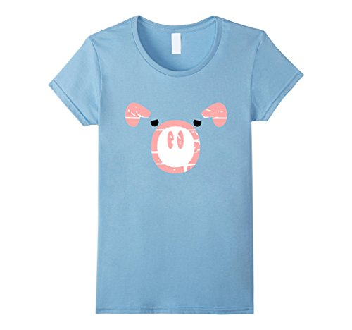 Women's Cute Pig Face illusion T-shirt Small Baby Blue