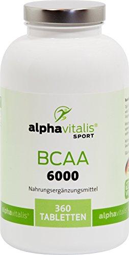 BCAA 6000 Mega Tabs - alphavitalis SPORT® - 360 Tabletten á 1000 mg BCAAs - vegan - glutenfrei - laktosefrei - 2 Monatskur essentielle Aminosäuren für ein hartes Workout