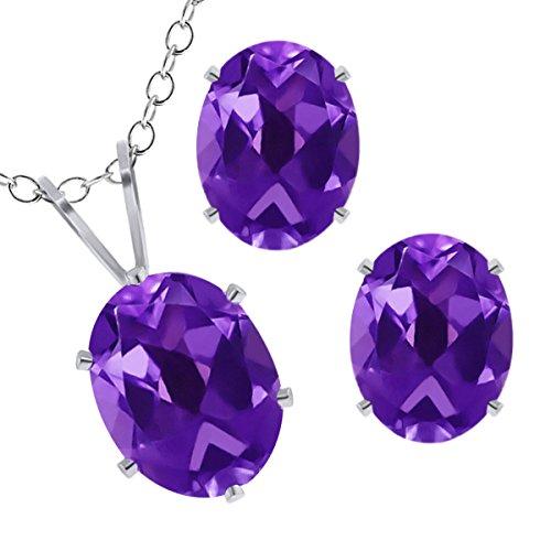 - Gem Stone King 2.80 Ct Oval Amethyst 925 Sterling Silver Pendant Earrings Set 18