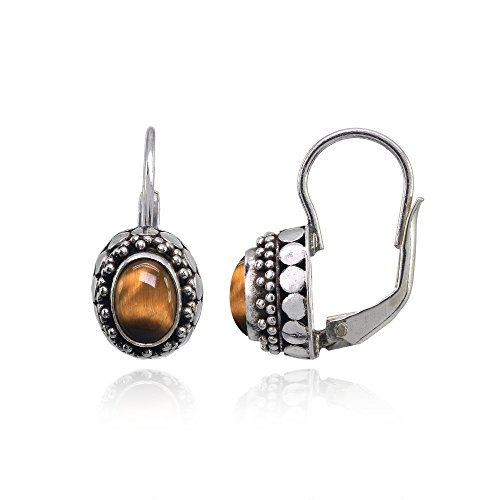 Sterling Silver Simulated Tiger's Eye Thick Oxidized Bali Bead Leverback Drop Earrings (Eye Bead Silver Sterling Tiger)