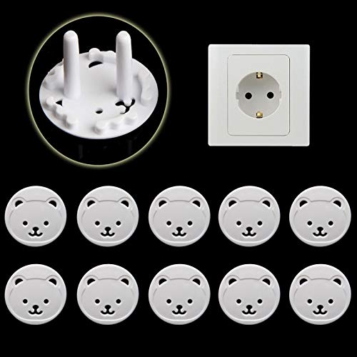 10 Pack EU Stand Power Socket Cover 2 Hole Electrical Outlet Baby Child Safety Electric Shock Proof Plugs Protector Rotate Cover