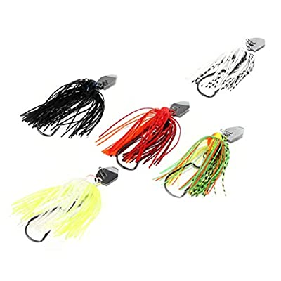 Fishing Lures - 1PCS Finesse Chatter Spinnerbait Spoon Metal Lure Fishing Bass Bait Swimbaits Spinner Fishing Lures - - (Color: Blue-White) : Garden & Outdoor