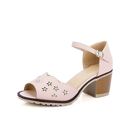 VogueZone009 Damen Rein PU Leder Mittler Absatz Schnalle Fischkopf Schuhe  Sandalen Pink